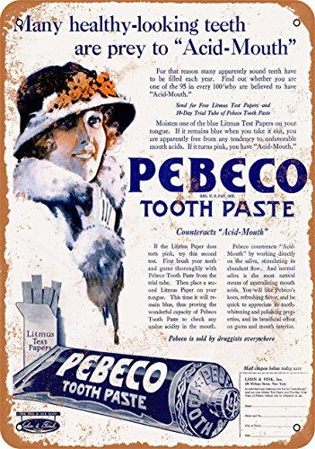 Wall-Color 9 x 12 Metal Sign - 1920 Pebeco Tooth Paste - Vintage Look