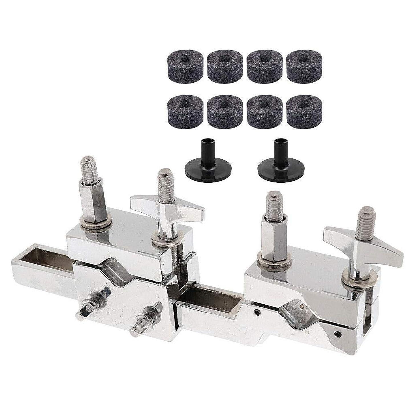 FidgetKute 8Pcs Drum Felt Washers+2Pcs Cymbal Sleeve with Multi Clamp Mount Holder Set