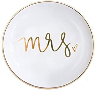 Quany Life Mrs Jewelry Dish Small Gold Ceramic Ring Trinket Tray Wedding Gift for Bride Wife Desk Storage Accessories Miss Office Decor Hand Lettered Holder Mr Mrs Best Engagement Gifts Friend
