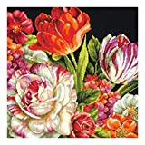 DIMENSIONS Needlepoint Kit, Bouquet on Black Floral Pattern, 14'' x 14''