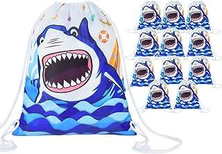 WERNNSAI Shark Party Drawstring Bags - 12 Pack 10'' x 12'' Party Favor Bags Blue Ocean Theme Party Supplies for Boys Birth...