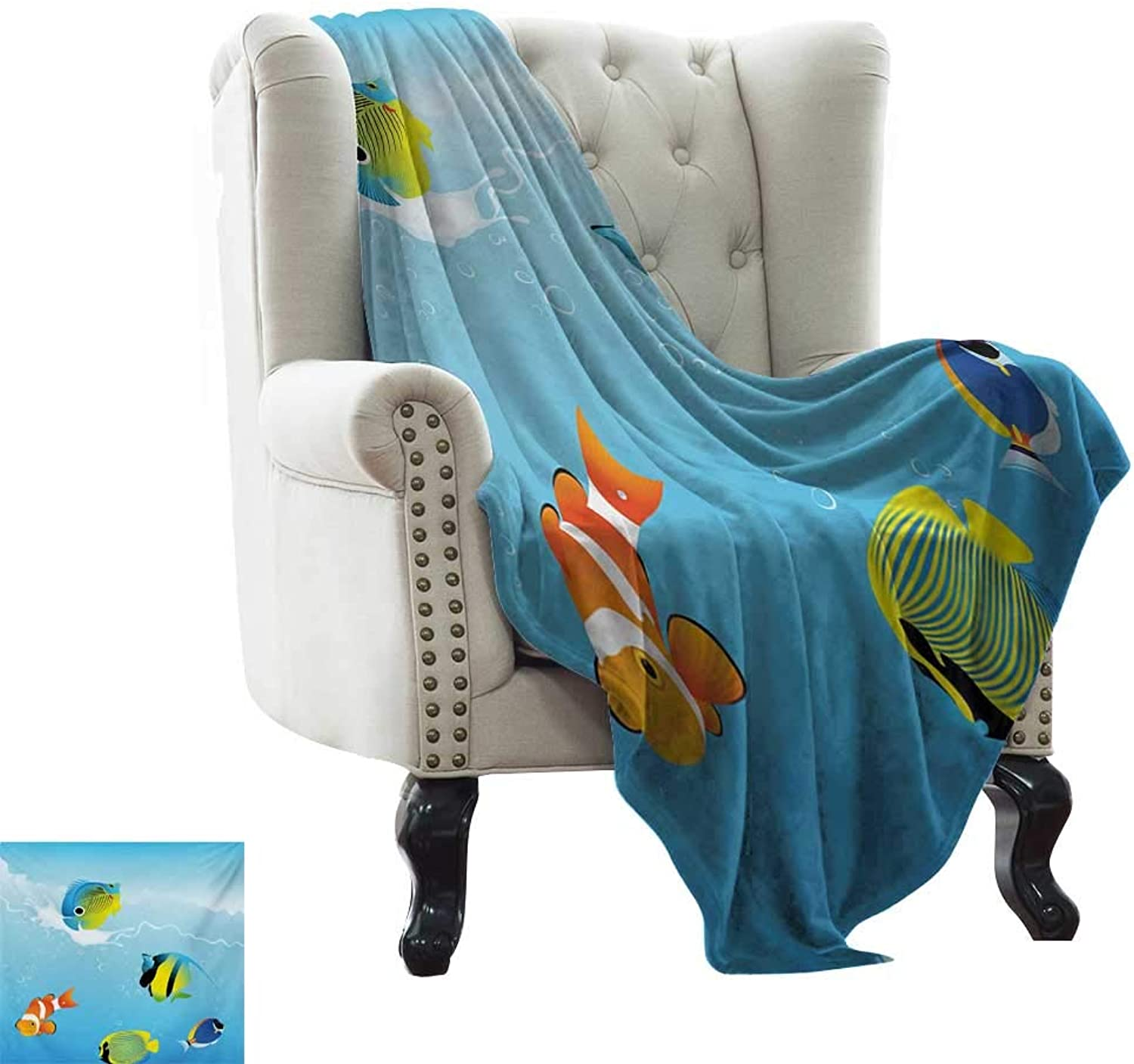Weighted Blanket for Kids Ocean,Nautical Navy Deep Sealife Image with Exotic Tropical Exotic Little Fish,bluee orange and Yellow Super Soft Light Weight Cozy Warm Plush 60 x62