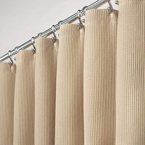 mDesign Duschvorhang aus 100prozent Baumwolle – schöne, strukturierte Duschgardine – leicht zu pflegener Badewannenvorhang – beige