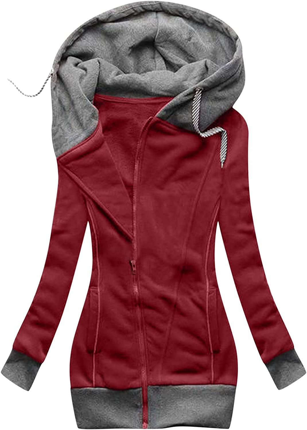 LOSTOX Casual Women's Solid Color Zipper Anoraks Jacket with Hood Drawstring Long Sleeve Outerwear Coat for Women