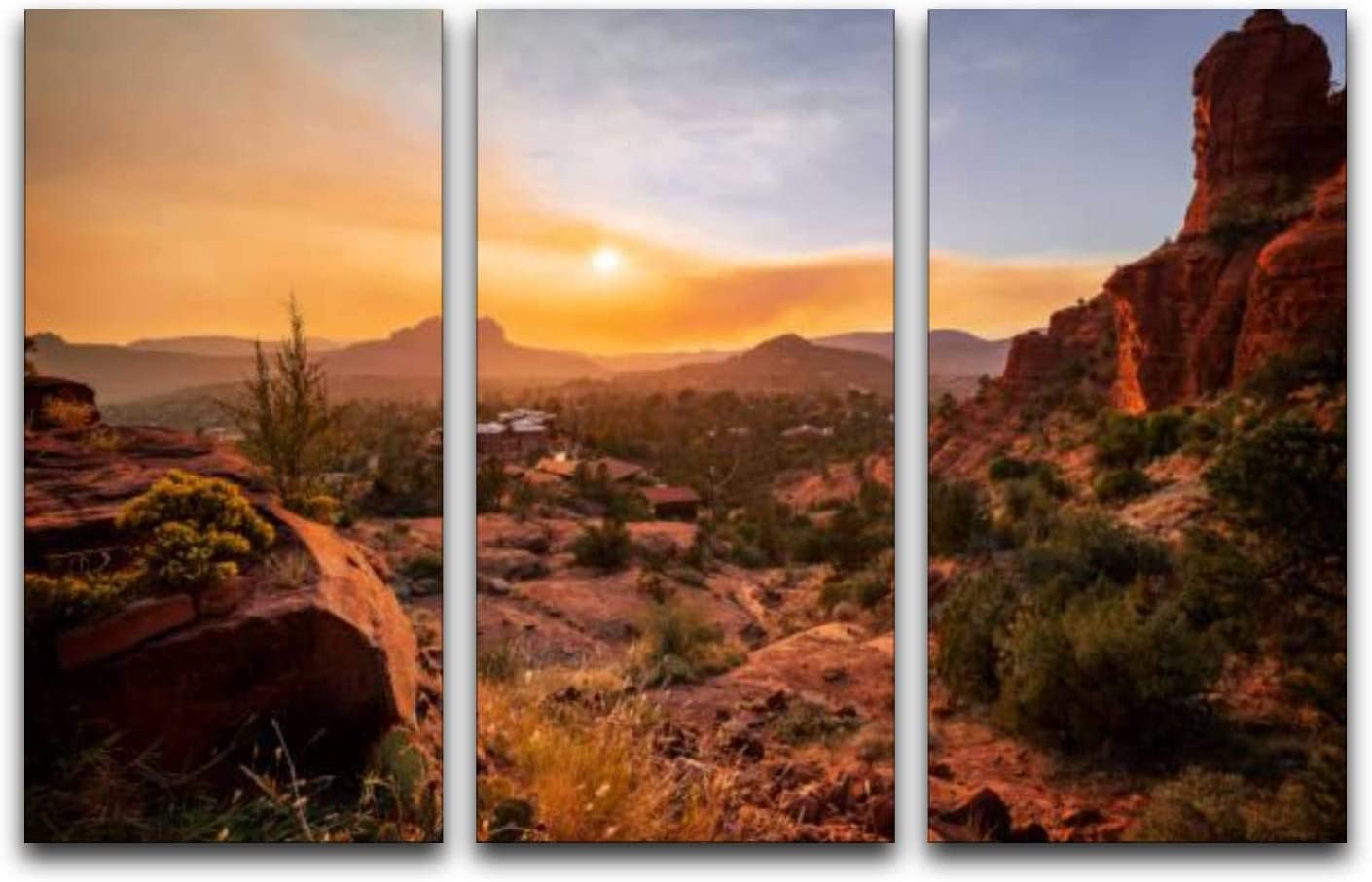 3 Panels Wall Art Pictures Sedona Super Bargain popular specialty store from the Chapel view at sunset