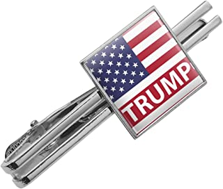 Graphics and More President Trump American Flag Square Tie Bar Clip Clasp Tack- Silver or Gold
