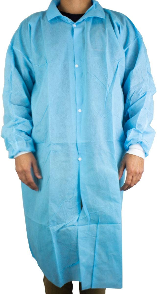 Lab Coat XL 10 pcs Gown Blue with Elastic Cuffs Medical Restaura 1 year warranty Manufacturer regenerated product