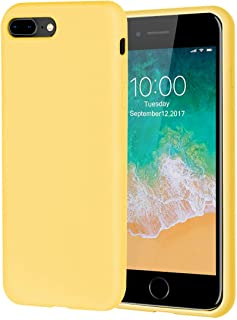 iPhone 8 Plus Case,iPhone 7 Plus Case,Soft Silicone Gel Rubber Case with Tempered Glass Screen Protector Microfiber Lining Cushion Full Protective Case for iPhone 8 Plus,iPhone 7 Plus (Yellow)