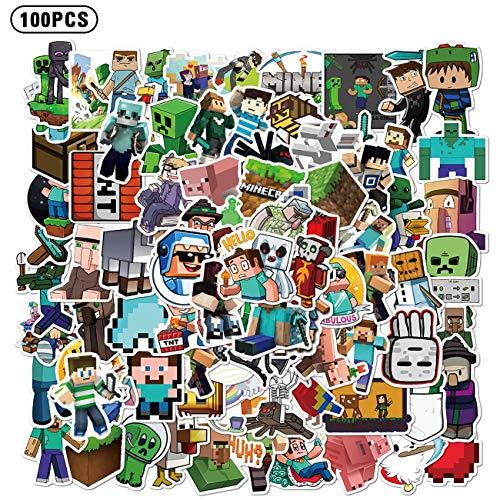 Minecraf_t Aufkleber, Gaming-Aufkleber, Vinyl, für Laptop, Wasserflasche, Skateboard-Aufkleber für Kinder, Teenager, Erwachsene, 100 Stück