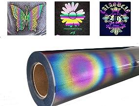 Reflekterande värmeöverföring Vinyl PU Glansig regnbåge Holografisk järn på HTV-rulle, för silhuett och hantverksskärare H...