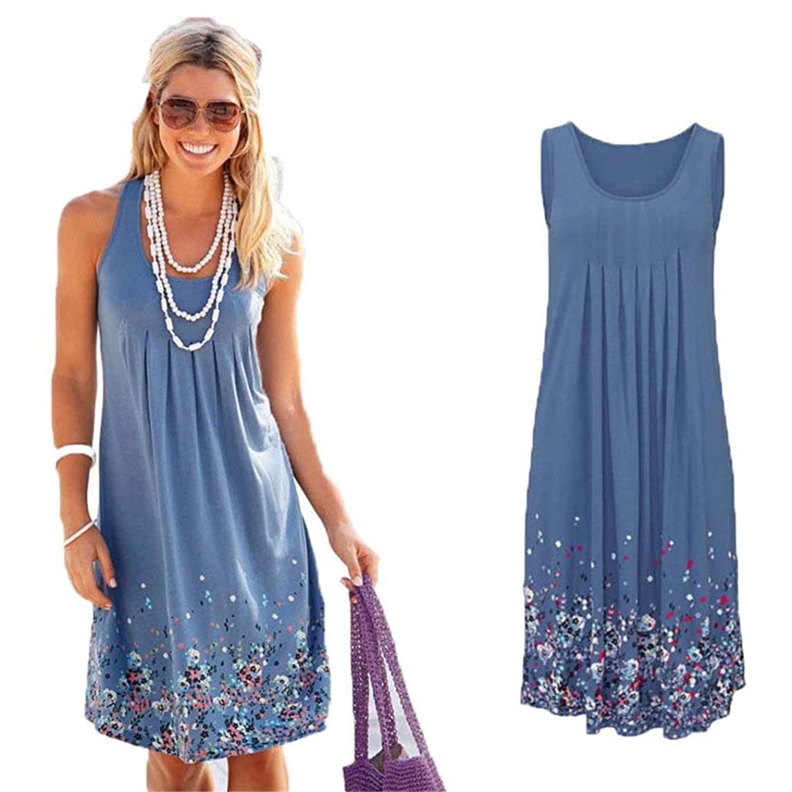 Sleeveless Floral Print Loose Dress Six Colors Casual Women Dress Robe Femme ETE Sexy Dress Plus