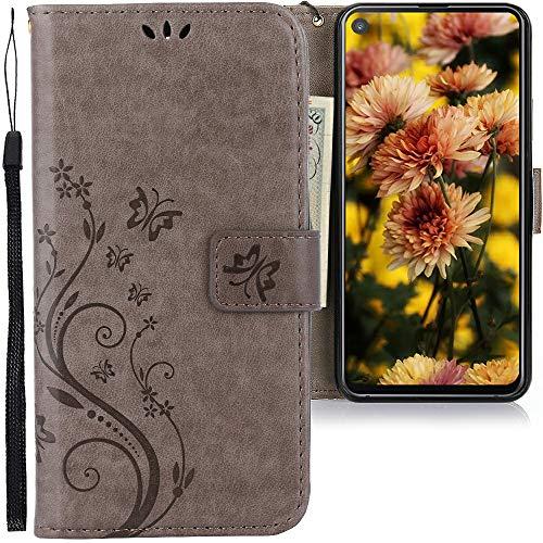 CLM-Tech Hülle kompatibel mit Samsung Galaxy A8s - Tasche aus Kunstleder - Klapphülle mit Ständer & Kartenfächern, Schmetterlinge grau