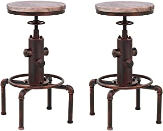 Topower American Antique Vintage Industrial Barstool Solid Wood Water Pipe Fire Hydrant Design Cafe Coffee Industrial Bar Stool (Red Bronze, 2)