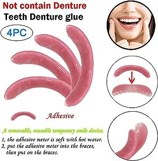 Euone 4pc Temporary Smile Comfort Cosmetic Teeth Denture Glue Top Denture Teeth