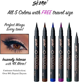 Skone Insanely Intense Tattooed Eyeliner – Smudge Proof, Sweat Proof, 5 PC (All Colors) with 1 Mini Travel Size