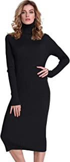 Best long black knit dress Reviews