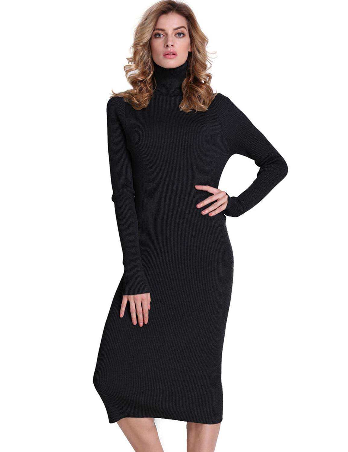 Sweater Dress - Women's Elegant V Neck Wrap Knit Dresses Batwing Sleeve Backless Slit Maxi Dress With Belted