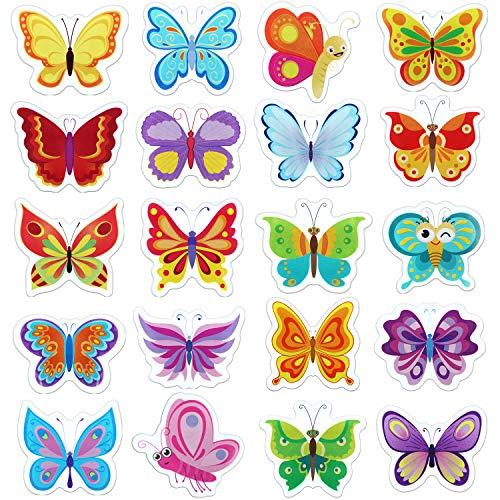 Boao 20 Stücke Schmetterlinge Dickes Fenster Gel Aufkleber Abnehmbare und Wiederverwendbare Frühling Fenster Aufkleber Abziehbilder für Kinder, Kleinkinder und Erwachsene Hause, Flugzeug, Dekoration