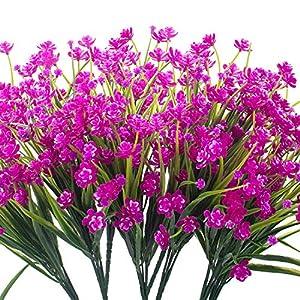 Grunyia 8 Bundles Artificial Daffodil Outdoors Flowers (Purple-Daffodil)