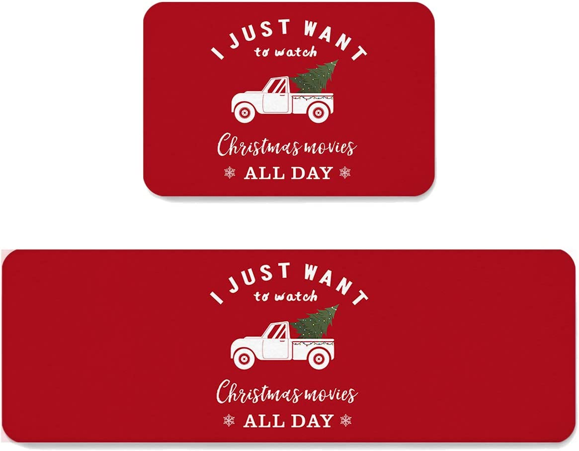 Area Rug At the price Set 2 Pieces Non-Slip Max 77% OFF Mats Kitchen Doormat Fa Christmas