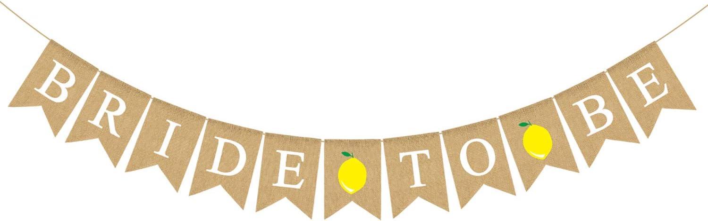 Rainlemon Bride to Be Banner Jute Burlap Lemon Bridal Shower Lemonade Party Decoration