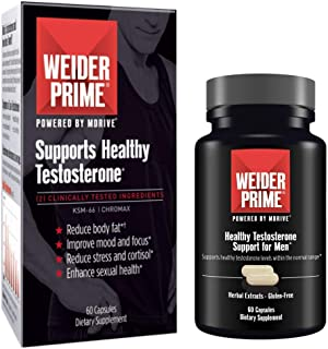 Weider Prime Testosterone Support for Men - Supports Energy, Strength, Focus, Stress, Lean Muscle - 60 Capsules
