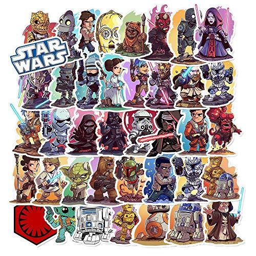 HONGC Paquete de Pegatinas de Star Wars, Pegatina de Personaje de película, monopatín DIY, Equipaje de Motocicleta, portátil, Juego de Pegatinas de Dibujos Animados 50 Uds