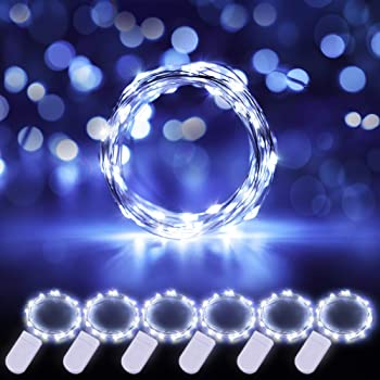 Govee 6 Pack Cool White Fairy String Lights Battery Operated, 3.3ft with 20 LEDs Waterproof Flexible Copper Wire Light for Christmas DIY Decoration Costume Bedroom Patio Parties Wedding Festivals