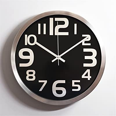 Imoerjia Creative Stylish Living Room Wall Clock 12 Inch Stainless Steel Mute Aluminum Clock,30Cm