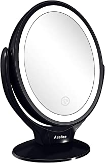 Double Sided LED Makeup Mirror with Lights, Lighted Makeup Vanity Mirror 1x/7x Magnification 360 Degree Rotatable with Touch Screen Dimming, Portable USB Chargeable Magnifying Mirrors (Black)