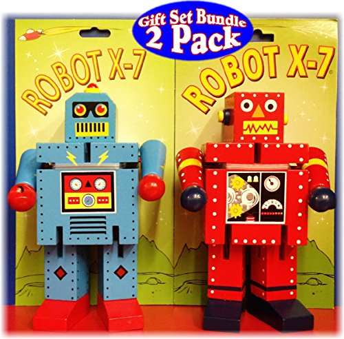 The Original Toy Company Robot X-7 Bendable Wooden 6.5' Robots - 2 Pack Bundle - 1 Red & 1 Blue