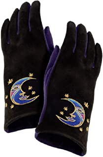 Moon Women's Gloves - Embroidered Half Moon on Black and Purple