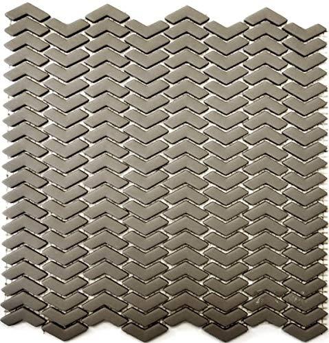 Mozaïek tegel ECO recycling GLAS visgraat Enamel crème mat MOS140-HB33C_f | 10 mozaïekmatten