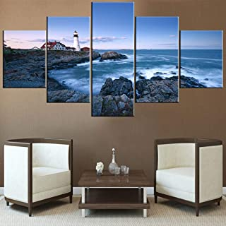 Artwork for Home Walls Portland Head Lighthouse at Dusk Paintings Maine Coastline Picture for Living Room 5 Piece Modern Prints Wall Art on Canvas Framed Gallery-Wrapped Ready to Hang(60''Wx32''H)
