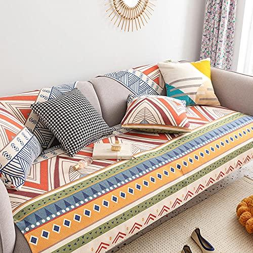 Fsogasilttlv Fundas para Sofa Ajustables,Cojín de sofá étnico de Lino de algodón Four Seasons, Fundas de sofá para Sala de Estar para sofá de Esquina A 65 * 150 cm
