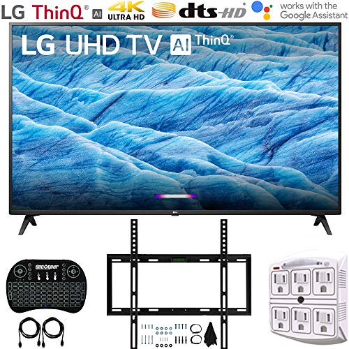 "LG 65UM7300PUA 65"" 4K HDR Smart LED IPS TV w/AI ThinQ (2019) + Flat Wall Mount Ultimate Bundle + 2.4GHz Wireless Keyboard Smart Remote w/Touchpad + 6-Outlet Surge Adapter w/Night Light"