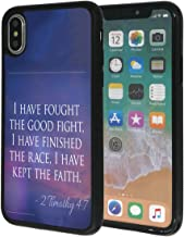 iPhone X/10 Case,Vobber Slim Anti-Scratch Architecture TPU Shockproof Protective Case Cover for iPhone X/10 -Bible Verse 2 Timothy 4:7(I Have Fought The Good Fight,I Have Finished The Race)