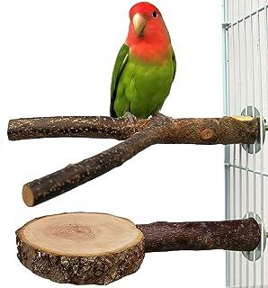 Joody 2 PCS Perchoirs à oiseaux branches d'oiseaux en bois naturel et plateforme de support pour cage, accessoires de cage...