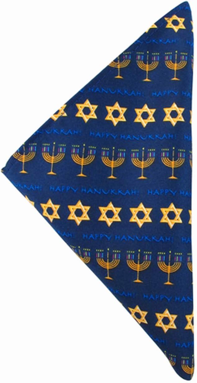 Jacob Alexander Men's Boys' Happy Hanukkah Stripe Star of David Menorah Pocket Square Handkerchief Hanky