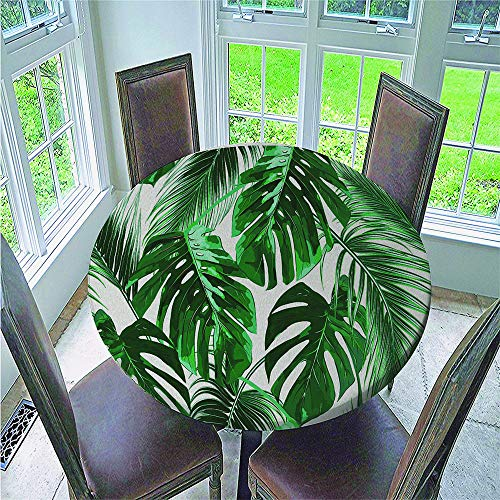 Fansu Mantel Redonda Antimanchas, Mantel Borde Elástico 3D Impreso Plantas Tropicales Impermeable Poliéster Manteles Usado para Comedor Cocina Jardín Picnic Exterior (Verde,150cm)