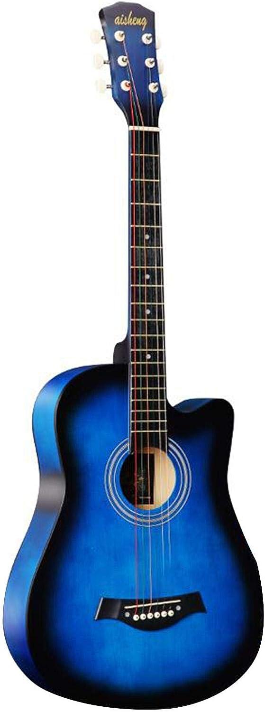KEPOHK Guitarra acústica clásica de 38 pulgadas 38 pulgadas 6 cuerdas de madera acústica para estudiantes principiantes (madera) Guitarra popular azul
