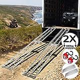 Jago® Auffahrrampe 340 kg pro Rampe - 1er oder 2er Set, Aluminium, klappbar, Antirutsch - Laderampe, Auffahrschiene, Anhängerrampe, Verladerampe, Verladeschiene, Fahrrampe (2er Set)