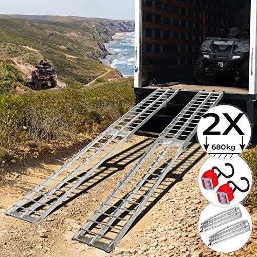 Jago Rampe de Chargement - Lot de 1 ou 2 Pices, Pliable, en Aluminium, Charge Max. 340 kg par Rampe, Antidrapante, pour Tous Les Motos, Quads, Voitures, Remorques - Rampe, Rails dAccs
