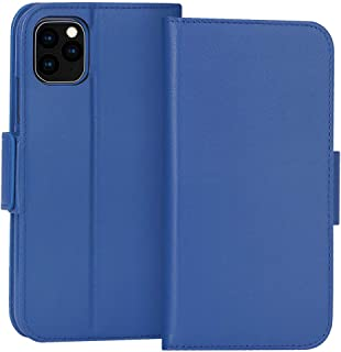 """FYY Case for iPhone 11 Pro 5.8"""", Luxury [Cowhide Genuine Leather][RFID Blocking] Wallet Case, Handmade Flip Folio Cover with [Kickstand Function] and[Card Slots] for iPhone 11 Pro 5.8""""Navy"""