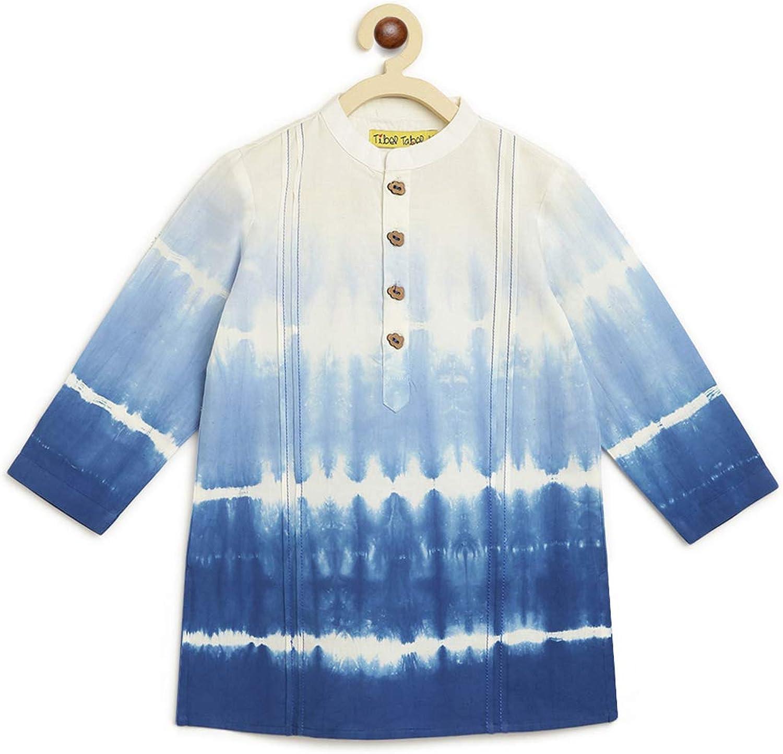 Tiber Taber Boys Cotton Tie Dye Kurta Shibori - Blue