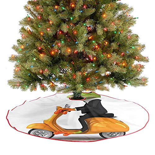 Modern Tree Skirt Serious Italian Stylish Frog Riding Motorcycle Fun Nature Graphic Urban Art Print Green Xmas Party Holiday Decorations Your Cat May Enjoy Laying on The Tree Skirt - 36 Inch