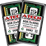 A-Tech 8GB (2x4GB) DDR3 1333MHz SODIMM PC3-10600 CL9 204-Pin Non-ECC Unbuffered Notebook Laptop RAM Memory Upgrade Kit