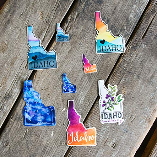 Idaho stickers, Watercolor, constellation or heart, great for laptops, water bottles, car windows!