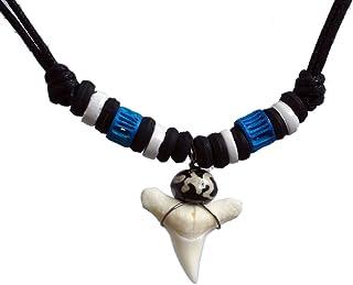 Exoticdream Real Shark Tooth Necklace Surfer Hawaiian Beach Boys Girls Men - Blue II