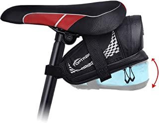 TOPTREK Bike Saddle Bag Outdoor Water Resistant Bike Bag Bicycle Seat Bag with Expandable Capacity and Waterproof Zipper Cycling Under Saddle Bag for Foldable/Road/Mountain Bike